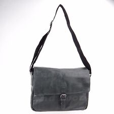 Kenneth Cole New York Quite A Dilemma Charcoal Black Leather Messenger Bag NEW!