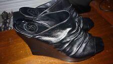 JESSICA SIMPSON Womens Redor Black Synthetic Platform Wedge Slide Sandal 9.5M