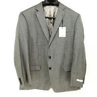NEW Calvin Klein 46R Slim Fit Micro Check Grey Black Blazer 2 Button Jacket Coat