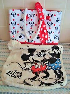Disney Minnie Mouse Tote Bag PLUS Mickey Mouse Cloth Shopping Bag