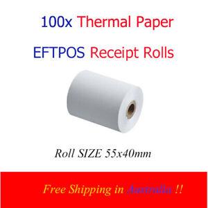 100x Eftpos Rolls 55x40mm Premium EFTPOS Paper Receipt Rolls + Free Shipping !!