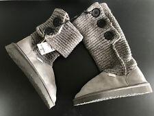 BNWT Older Girls Sz 13 Grey Rivers Doghouse Long Knit Slipper Boots RRP $50