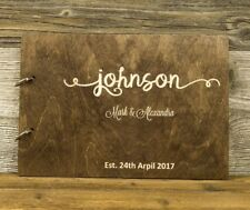 Personalized Wooden Wedding Guest Book, Rustic, Calligraphy, Newlyweds