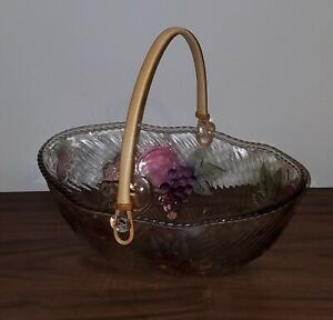 ADERIA Glass Vintage Bowl Basket With Handle Feat. Fruit. Purple, Pink, Green.