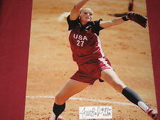 USA SOFTBALL LEGEND JENNIE FINCH SIGNED PLAQUE & 8X10 PHOTO PA LETTER COA
