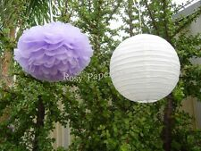 8x lilac paper pom poms white lantern wedding party baby shower venue decoration