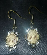 VTG Style Amber Faux Cameo with Rhinestones Pierced Earrings Antique Gold Tone