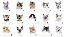 Cat Breeds Feline Panel Cotton Quilting Fabric 60cm x 110cm Elizabeth's Studio