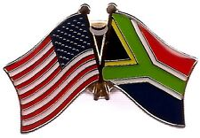 Lot Of 3 South Africa Friendship Flag Lapel Pins-South Africa Crossed Flag Pin