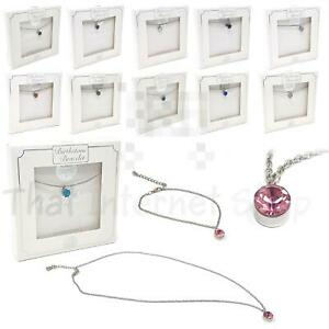 Birthstone Necklace Bracelet Jewellery Silver Plated Gemstone Gift Boxed