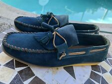 Zara Mens Casual Suede Leather turquoise Loafer Deigner Comfort Shoes Sz10