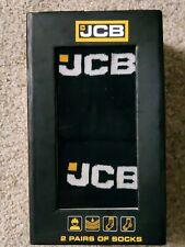 JCB Men's 2 Pair Black Cotton Blend WORK Wear Crew SOCKS Mens Size 10 -13 NWT