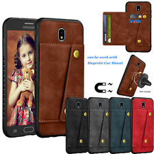 For Samsung Galaxy J7 Refine / J7 Star/ J7 2018 Leather Card Magnetic Mount Case