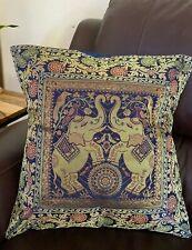 Pillow cover/ Cushion Cover, Silk, Brocade, Elephant pillow, Blue Pillow, Indian