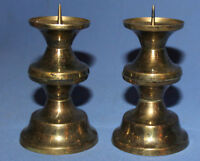 VINTAGE PAIR BRASS CANDLESTICKS CANDLE HOLDERS