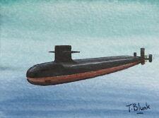 "ORIGINAL AQUARELL - U-Boot U.S.S. ""Alabama""."