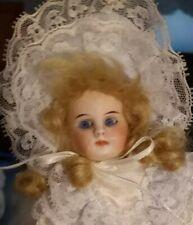 Antique 8-Inch Bahr & Proschild Socket Head 224 Doll In Lt Blue Satin Dress 10