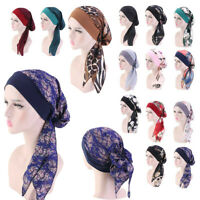 Muslim Hijab Turban Hat Headscarf Pre-Tied Long Tail Chemo Cap Stretch Bandana H