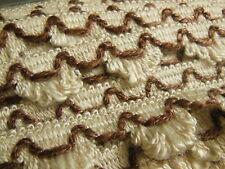 plaque de 12 métres 50 galon vintage beige marron effet franges 2,5 cm