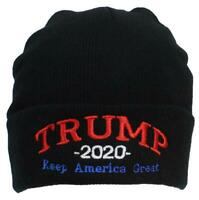 Best Winter Hats Adult Embroidered Trump 2020 Keep America Great Beanie - Black