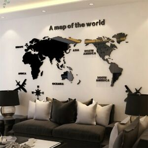 Solid Acrylic Wall Sticker World Map Decals  3D Wall Decals Sofa Background Mura