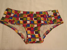 FLIRTITUDE Size 4/XS Cotton Hipster Panty NWT Green Mosaic Checkered