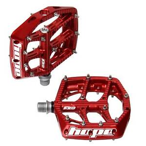Hope Technology F20 Mountain/MTB Bike/Cycling/Cycle Flat Pedals - Red - Pair