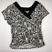 Ann Taylor Women's Top Size Large Black and White Classy Short Sleeve V Neck