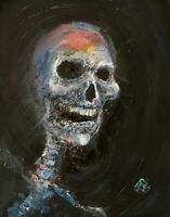PRINT Happy Laughing Skull Skeleton Dark Macabre Psychedelic Wall Art 11x14