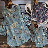 ZANZEA 8-24 Women Plus Size 3/4 Sleeve Vintage Boho Blouse T Shirt Floral Top