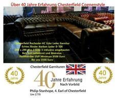 Chesterfield Rochester Eckgarnitur 290 x290 inklusive Bett Rinder Narben Leder