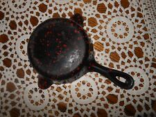 Vintage Wagner Ware Black & Red Enamel over Cast Iron Mini Skillet/Ashtray