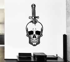 Wall Decal Skull Knife Dagger Death Fear Skeleton Mural Vinyl Stickers (ed033)