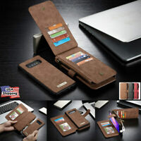 For Samsung S10 S10+ S10E Removable Magnetic Leather Zipper Wallet Case Cover
