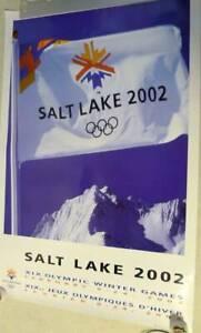 2002 SALT LAKE CITY 2002 LOGO FLAG - Winter Olympic Poster - WHITE LOGO FLAG