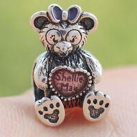 925 Sterling Silver Disne Shellie May Teddy Bear Heart Enamel Charm For Bracelet
