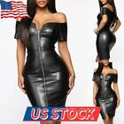 Women Sexy One-shoulder Leather Skinny Dress Faux Leather Short Sleeve Bodycon
