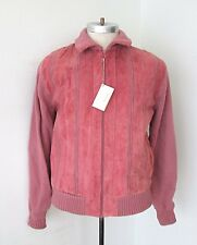 NOS Vtg 80s Oleg Cassini New Wave Dusty Rose Pink Panel Suede Sweater Jacket M