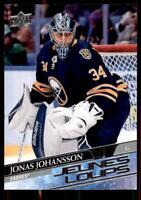 2020-21 UD Series 1 French Young Guns #228 Jonas Johansson RC - Buffalo Sabres