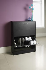 Wooden 2 Drawer Shoe Storage Cabinet Footwear Rack Organizer Cupboard Black