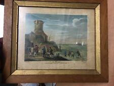 La Pêche gravure originale XVIIIème de J P Le Bas d'apr David Teniers 1743 32èm