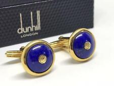 Dunhill Cufflinks Lapis Lazuli Blue Gold Oval Logo Mens Accessory Genuine Used
