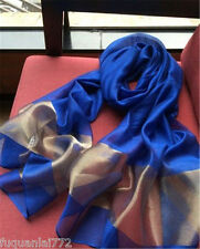 "Thai Pure 100% Silk Scarf Shawl Wrap 27x64"" Handmade Large Royal Blue"