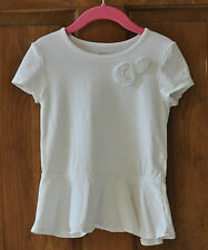 Girl's White Shirt Size 5T Old Navy Very Cute On with flower embellishments