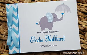 PERSONALISED CHEVRON ELEPHANT BABY SHOWER GUEST BOOK - BLUE & GREY