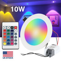 10W RGB LED Ceiling Light Recessed Panel Downlight Spot Lamp with Memory Remote