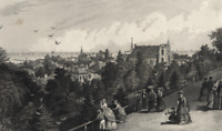 Cleveland Ohio City View from Reservoir Walk - 1872 Engraved Antique Print