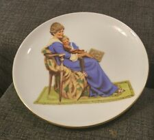 """""""Bedtime"""" Vintage 1986 Collector Plate Inspired by Norman Rockwell Gold Leaf"""
