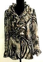 Montique Women's Jacket Evening/Party Animal Print Ruffles Long Sleeves Size 16
