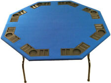 "52"" Octagon Blue Felt Poker Table Folding Steel Legs-For Texas Holdem Card Games"